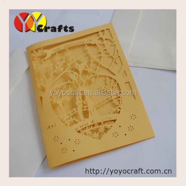 Coffee Color 250gsm Pearl Paper Wedding Invitation Card Love Kiss ...
