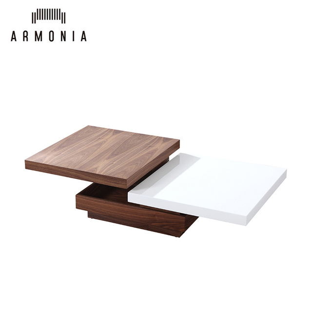 Living Room Furniture Design Multi-Functional White Gloss Wooden Coffee Table