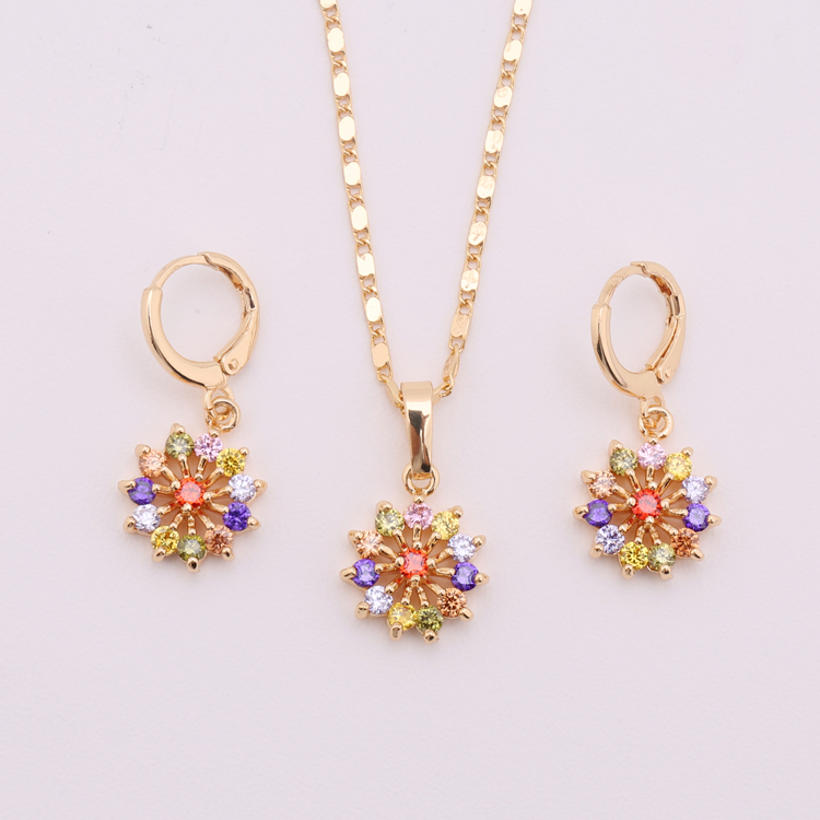 Ladies 2 Gram Gold Necklace Earring Set With Flower Design - Buy ...