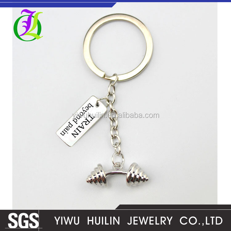 K 162 Yiwu Huilin Jewelry Wholesale Mini bar bell Pain Today Strength tommorrow Discipling Strong not skinny letter key chain