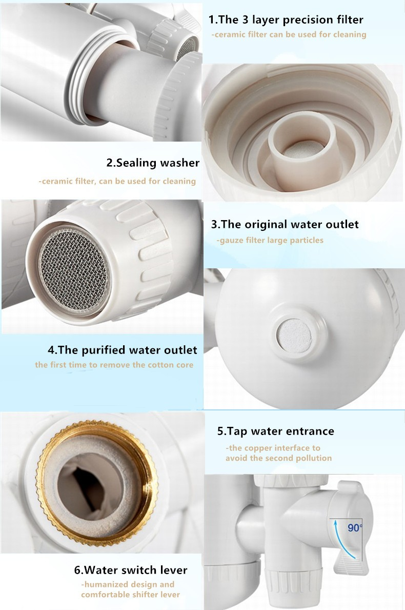Healthy Uf Membrane Faucet Water Filter System Plastic White ...