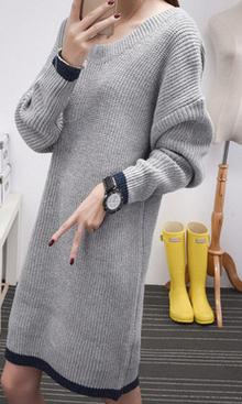 Korean autumn/spring new dual V neck knit dress long sleeved pullover in long bottoming women sexy trend cardign
