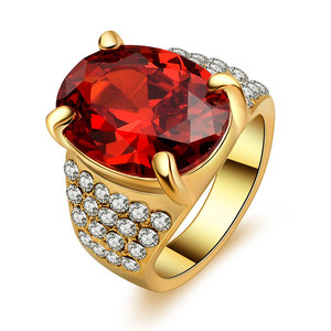 Environmentally-friendly Alloy Ring Gold Color Ellipse Woman Red AAA Zircon Ring with Full Diamonds