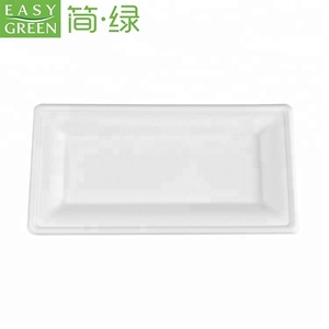 EasyGreen Rectangle Biodegradable Snack Food Packaging Reusable Sushi Salad Tray For Freezing And Microwave