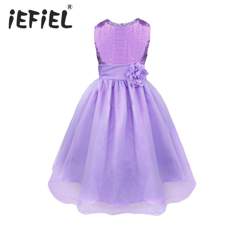 Baby Kids Girls Princess Sequined Flowers Formal Bridesmaid Wedding Pageant Prom Party Pageant Prom Ball Gown Dress Clothes