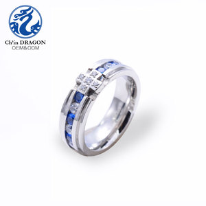 CZ sapphire pave men industrial custom stainless steel rings