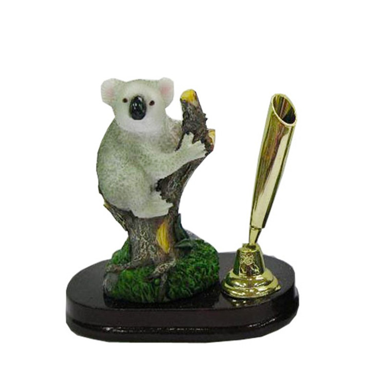 Eco-friendly resin animal pen holder desk polyresin pen holder for office