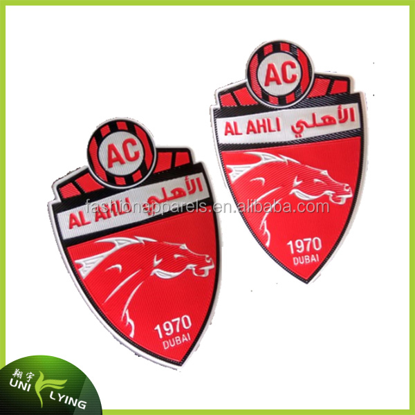 Best selling 3D thick silicone labels for soccer team jersey