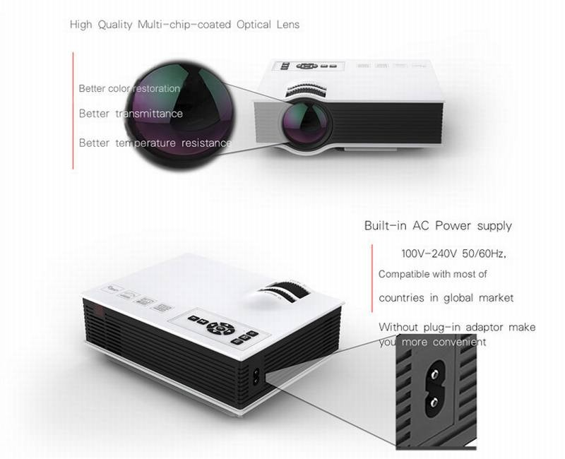 Unic uc40 simplified micro projector 800 lumens 800 x 480 for Micro projector 1080p