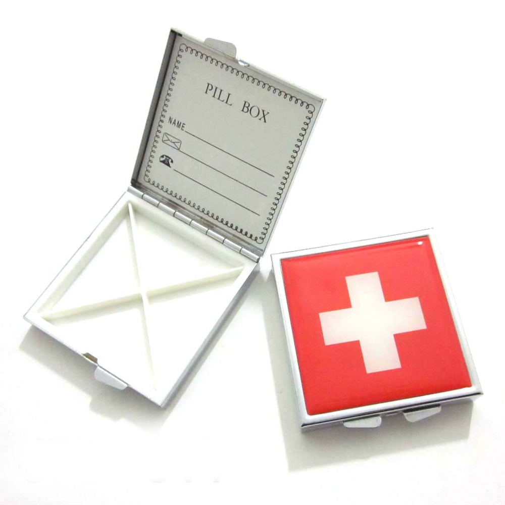Metal square pocket pill box/pill case/pill container