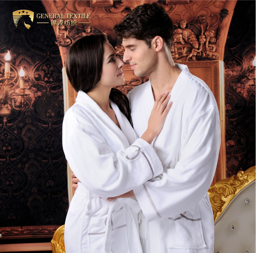 Good Quality White Unisex Waffle Velvet Velour Terry Lined Hotel Bathrobe