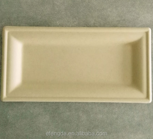 eco-friendly disposable wheat straw paper pulp rectangle plate for party