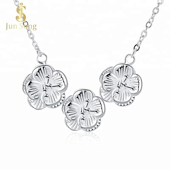 Wholesale Costume Necklace Silver Plated Flower Charm Fashion Jewellery