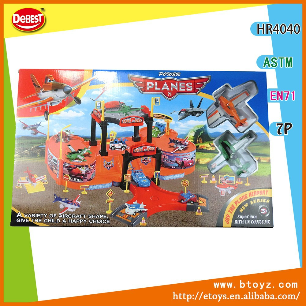 Plastic toy parking lot with two pull-back cars kids toys
