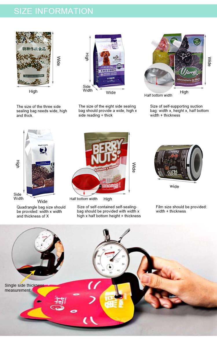 Biyobozunur plastik fermuar gıda paketleme çantası baharat şeker aperatifler çay Kurutulmuş meyve vb