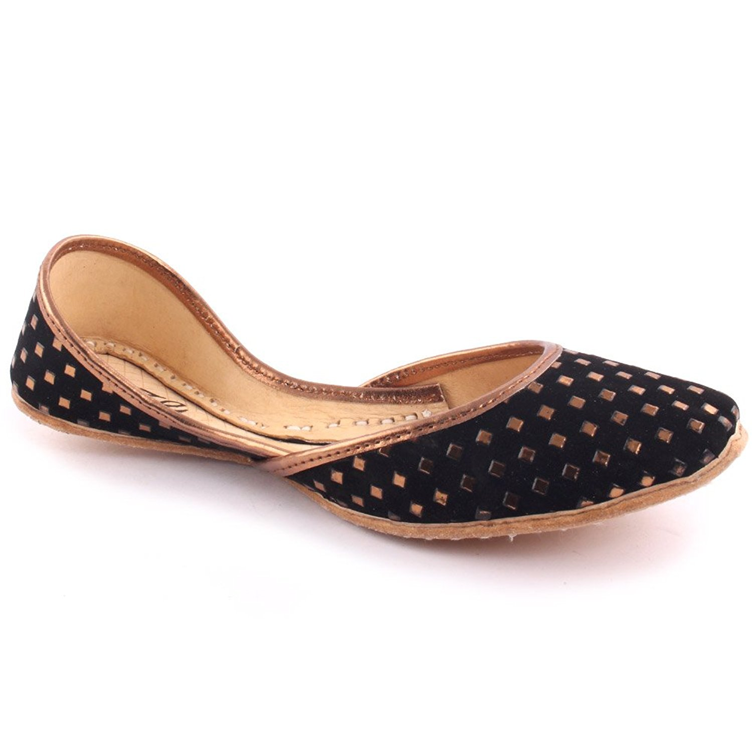 92788f7f15f63f Get Quotations · Unze Women Ladies Traditional Angra Block Print Metallic  Indian Casual Leather Flat Khussa Slippers Shoes UK