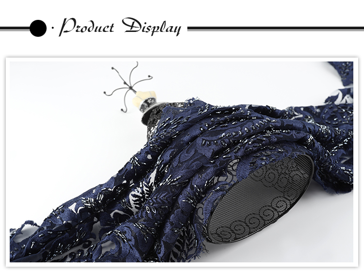 Factory supply navy blue 3d pearls embroidered lace fabric beaded for dresses