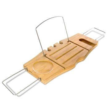 Bamboo Bathtub Caddy Bath Tray Shower Caddy With Stainless Steel ...