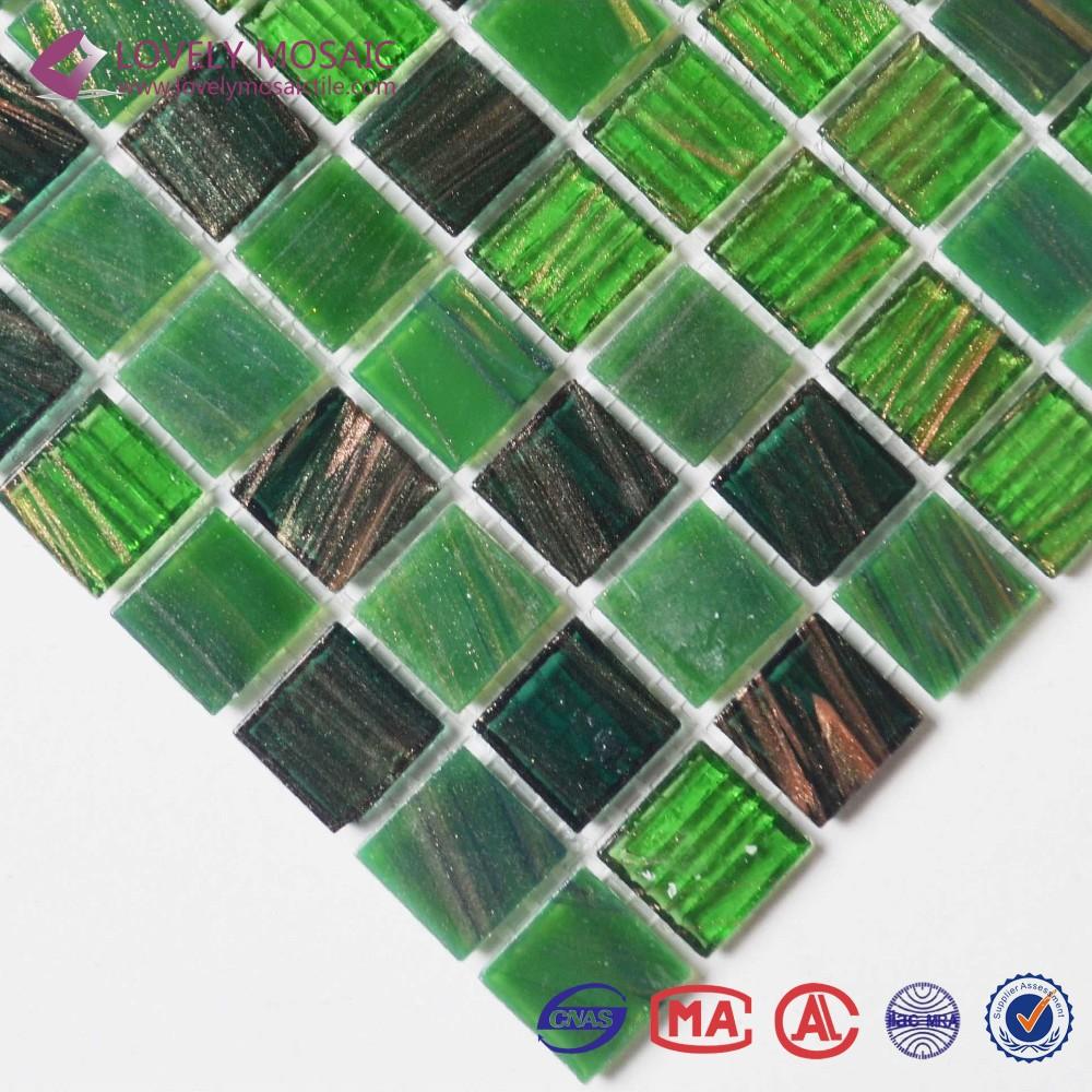Verde mista oro mosaico di vetro line piastrelle per bagno - Piastrelle di vetro ...
