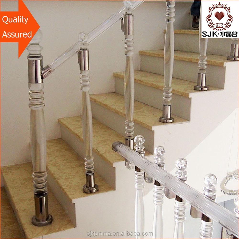 modern acrylic stair railing, crystal stair railing, glass banister