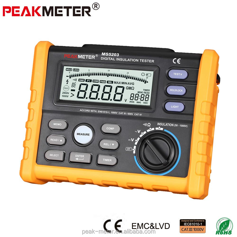 High Quality 50~1000V megger insulation resistance tester with low price
