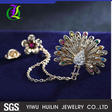 JTBR0028 Yiwu Huilin Jewelry Latest design Color Crystal flower Retro Peacock Hanging Brooch pins