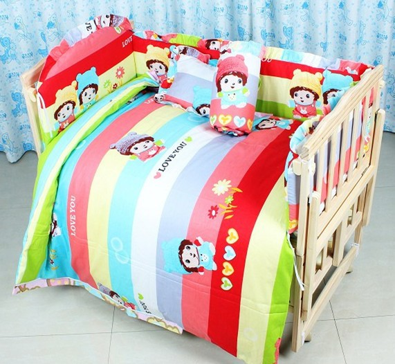 Promotion 7pcs baby bedding cot bumper 100 cotton customize bedding kit bed around berco bumper duvet