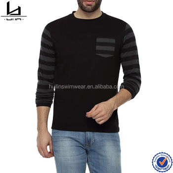 Round Neck Full Sleeve T Shirt Mens Long Customized Gym With