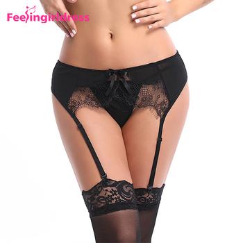 30f3ef3488 Venta al por mayor Sexy seductora negro Tanga ropa interior elástica  correas liguero de encaje