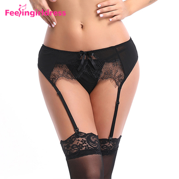 5a9612a60e Venta al por mayor Sexy seductora negro Tanga ropa interior elástica  correas liguero de encaje