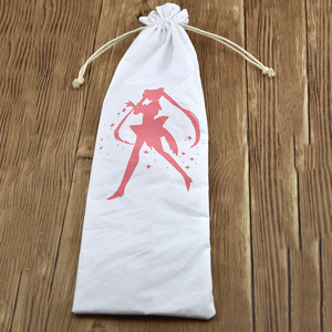 Custom Logo Promotional Screen Printed Pure White Cotton Drawstring Pouch Bag For Chopstick Kids