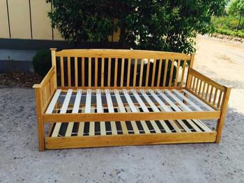 Eiche Holz Tagesbett Mit Ausziehbett