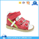 Russian style girls buckle strap red flat walking sandals orthopedic school shoes for children