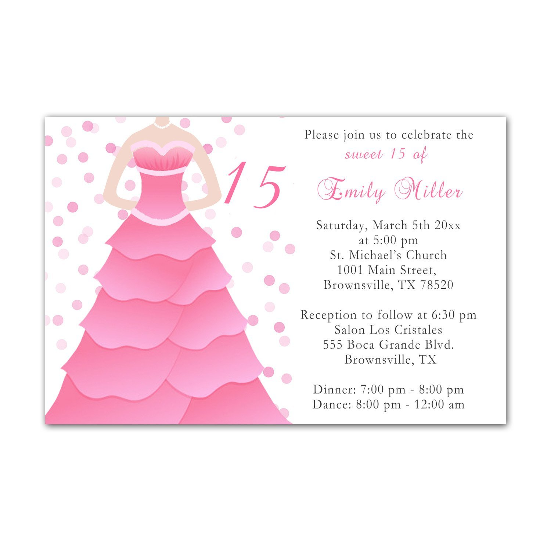 Buy 30 Invitations Pink Dress Polka Dots Design Birthday Party Sweet ...