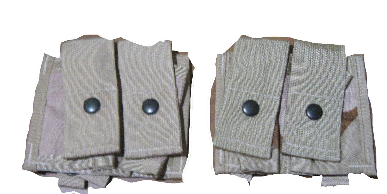 2 USGI Army Military Surplus Desert Camo Double 40mm Grenade Pouch, Desert Camo