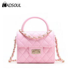 New Design Princess Diamond Lattice PU Leather Girls Fancy Bags