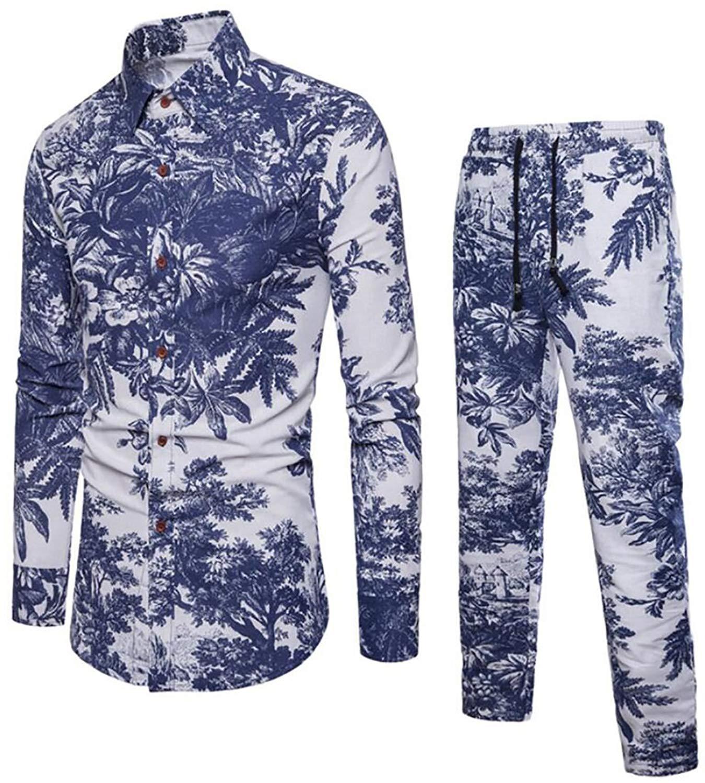 Jofemuho Men's Vogue Loose 2 PCS Suit Casual Floral Print Straight Leg Pants Blouse Shirt