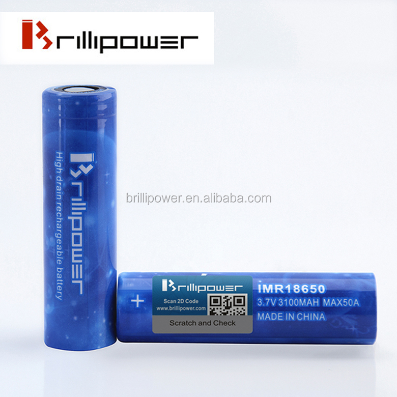 New Arrival Blue Brillipower IMR 18650 3100mah 50A Rechargeable Li-ion Battery 18650 3.7v li-ion Battery