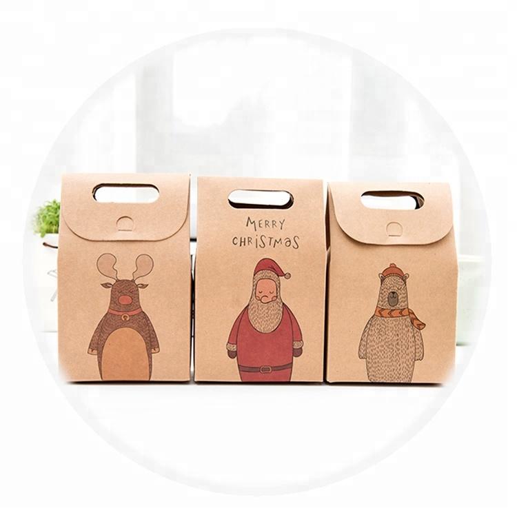 Custom Creative  Cartoon  Design  Logo Offset Printed Kraft Christmas Gift Present Small Paper Bags