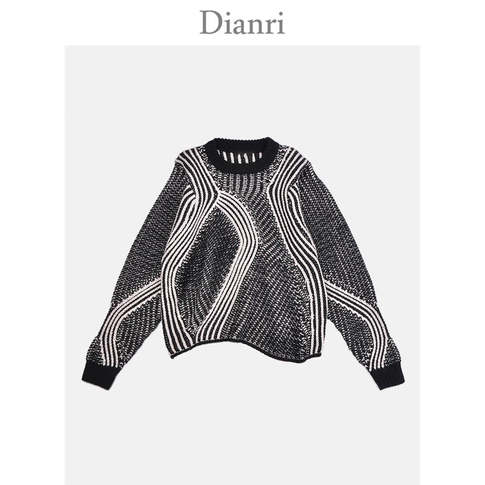 Hecho a rayas de manga larga de color mezclado sudaderas suéter de mujer