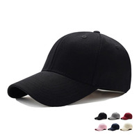 High Quality Custom Black New Blank Plain Cotton Sport Hats 6 Panel Baseball Cap