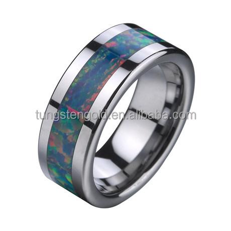 8mm rainbow fire opal rings857 tungsten rings wedding ring - Rainbow Wedding Rings
