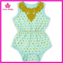 Lovebaby Cute lace neck pattern golden polka dots cotton romper wholesale newborns kids summer wear LBR20160512-31