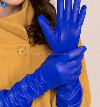d25401771 Custom Made Wholesale Women Long Silk Lined Sheepskin Leather Gloves ...