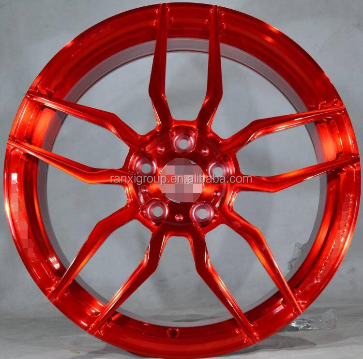 gloss red 1 piece forged wheel rim with 5x100/5x112/5x108