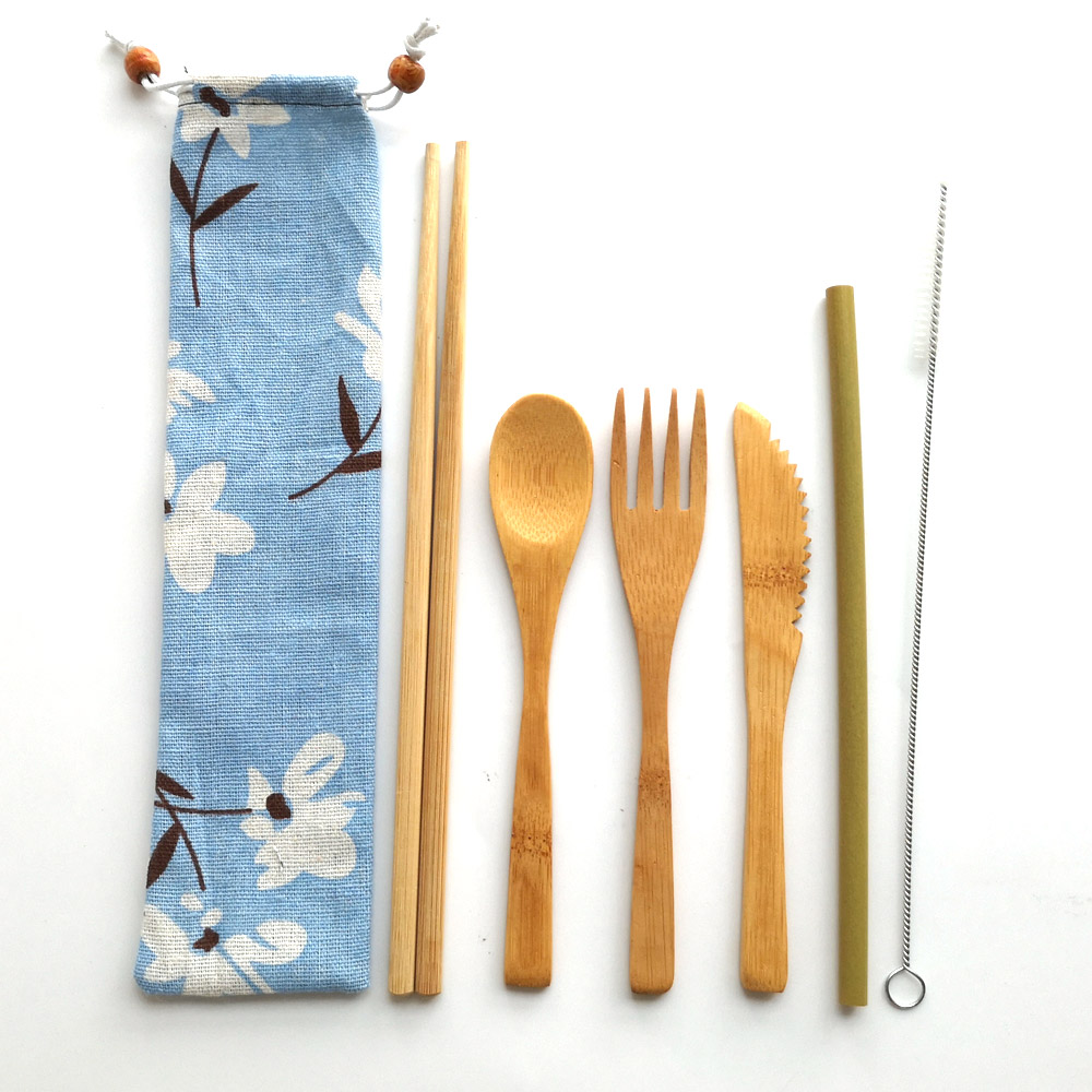 2018 Hot Selling Camping Cutlery Bamboo Fork Knife Spoon Travel Set