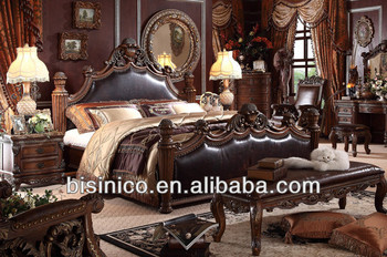 Clic Bedroom Furniture Royal Spanish Poster King Bed Solid Wood Genuine Leather