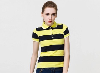 a04fdca3 Fashion Women Black Yellow Striped Polo T Shirt - Buy Black Yellow ...