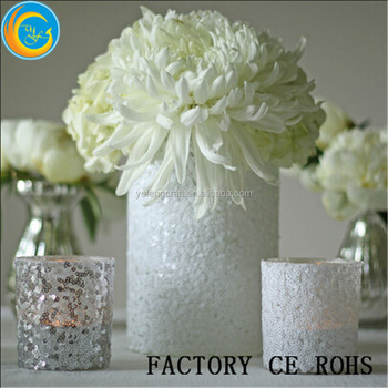 White Glitter Glass Vase Gitter Glass Votive Holder Votive With