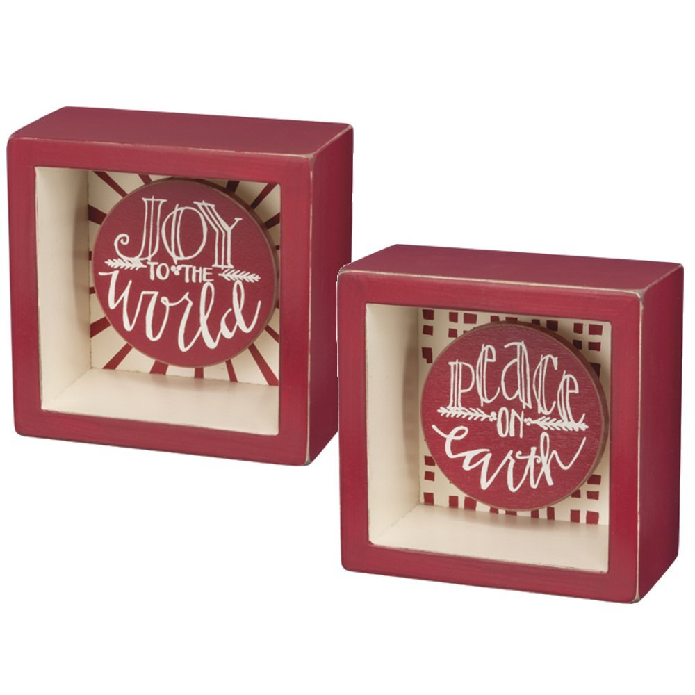 "Primitives by Kathy 3.5""x 3.5"" Holiday Box Signs - ""Joy To The World"" and ""Peace On Earth"" - 2 Pack"